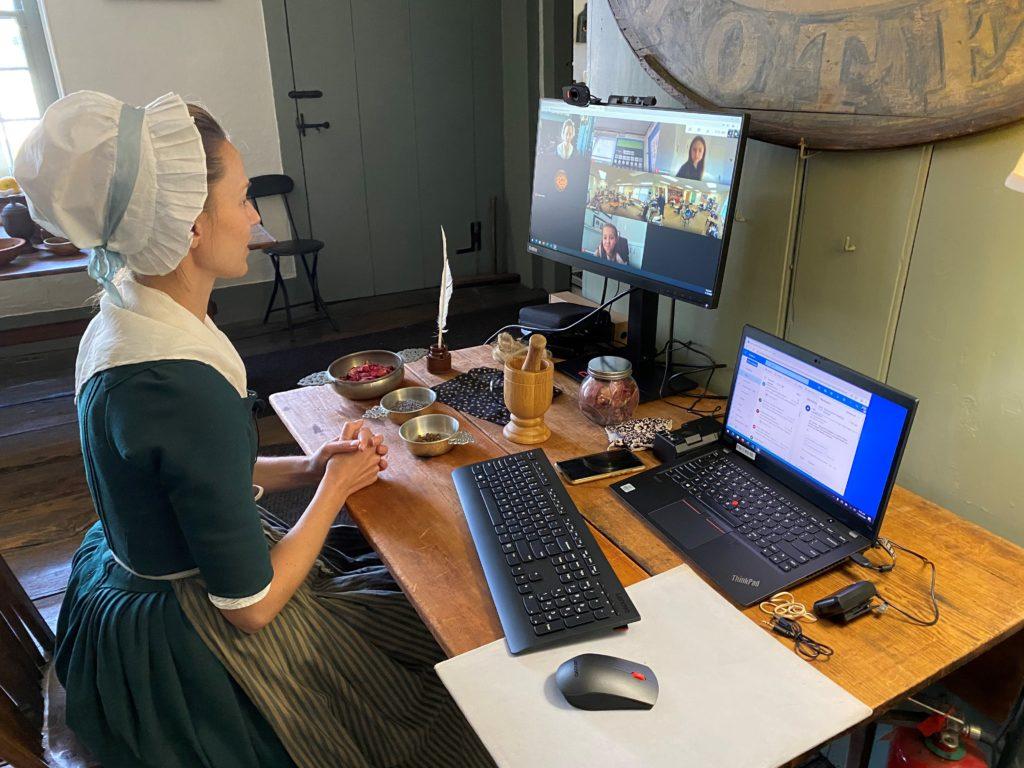 Educator Works with Children via Internet
